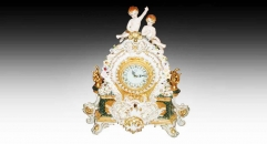 Double angel decorative electronic table clock
