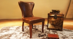 Full top grain leather dining chair