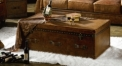 Full top grain leather coffee table w/ drawers