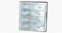 Aluminium trunk, chest of drawers, 5 drawers