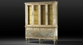 European silver floral hand painted display cabinet