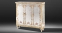 European silver hand painted floral sideboard, cabinet