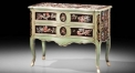 European style green floral console table w/ 2 drawers