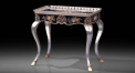 hand painted floral end table, silver feet