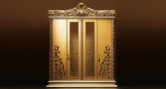 golden vine wood carved 4 door wardrobe