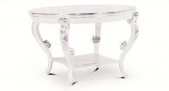 Round silver and white dining table