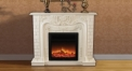 Electric Flame Fireplace Insert Heater 2 Color Modern Decorative Firebox White Oak Frame Refined Carving