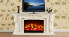Modern Decorative TV Stand TV Cabinet Electric Flame Fireplace Insert Heater White Oak Frame Refined Carving
