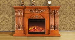 Electric Flame Fireplace Insert Heater 4 Color Modern Decorative Firebox White Oak Frame Refined Carving