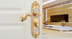 European Antique Zinc Alloy Door Lock Refined Carving Handle with Crystal Luxury Locks