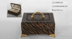 Black and brown stripe handmade wood and brass jewel box, vintage style jewelry storage