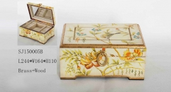 White grouding with beautiful flowers decorative handmade wood and brass jewel box, vintage style jewelry storage
