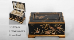 Black grounding wtih bird and flowers theme handmade wood and brass jewel box, vintage style jewelry storage
