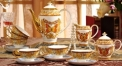 15 pieces high quality butterfly theme coffee set ,royal european style coffee set, bone china tea set