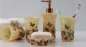 5 pcs luxury butterfly resin bath set, cup, toothbrush holder,soap dish,lotion bottle, Christmas gift