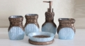 5 pcs luxury antique blue resin bath set, cup, toothbrush holder,soap dish,lotion bottle, Christmas gift