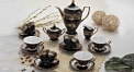 European style black glaze tea set coffee set exquisite eramic cofee and tea set wedding gift business gift (17 pieces)