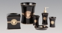 6pcs luxury black glazed bathroom set , tissue box, rubbish bin, cup, soap dish, lotion bottle, wedding gift