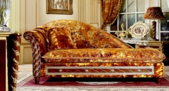 Classical modern golden chaise lounge, luxury bedroom chaise lounge