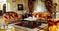 Exquisite hand craft relief golden sofa set, high quality solid wood sofa set