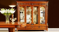 Valuable solid wood and high quality glass 4-door showcase