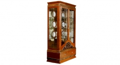 modern design classical red brown solid wood with glass 2-door showcase