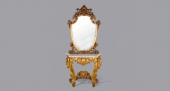 European Style Antique Refined Carving Console Luxury Golden Table with Mirror