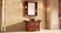 light browm oak of aged finish cabinet and mirror, single hole and single basin bathroom vanities