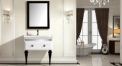 snow mountain white and black oak cabinet and mirror, porcelain siamesed basin bathroom vanities