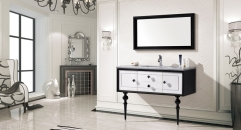 snow mountain white and black oak cabinet and mirror, straight grain white marble, single hole and single basin vanities