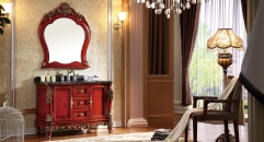 red brown oak with foil paint golden cabinet and mirror, new classical wood grain marble, three holes and single basin vanities