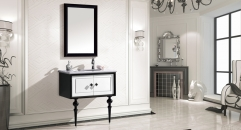 luxury snow mountain white and black oak cabinet and mirror, straight grain white marble, single hole and single basin vanities