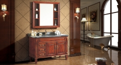teak color ashtree solid wood cabinet and mirror, Portoro marble, single hole and single basin bathroom vanities