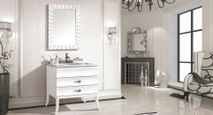 snow mountain white oak cabinet and mirror, Venato Carrara marble, single hole and single basin bathroom vanities