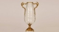 classical style lucency import glass with golden copper vase, workmanship double handle style table vase