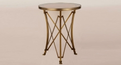 European style copper and glass coffee table, new design popular small round table