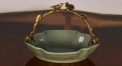 classical green glazed porcelain with golden handle fruit basket, luxury handmade tray and plate dish