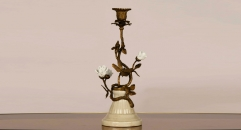 antique imitation golden copper and ivory porcelain style candle holder, white rose decoration candlestick