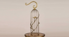 big size luxury copper and stainless steel birdcage, branch decoration golden metal bird cage