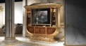 Luxury Imperial Wood Carved Champagne Gold TV Cabinet TV Stand