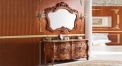 antique black brown oak cabinet and mirror, supreme jade marble, three holes and two basin bathroom vanities