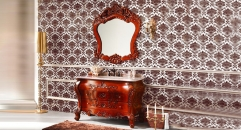 antique brown oak cabinet and mirror, golden rose marble, three holes and single basin bathroom vanities