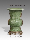 Luxury Porcelain Green Vase Brass Base Ceramic Decoration Art Collection Ornament