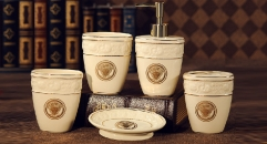 Medusa 5pcs Precious palace oval shape porcelain bathroom set ,tumbler,toothbrush holder,soap dish,lotion bottle, wedding gift