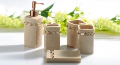5 pcs Sand and shells resin bath set, cup, toothbrush holder,soap dish,lotion bottle, Christmas gift