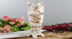 cylindrical Italy style ivory porcelain vase, classical rose relief carving vase, exquisite hand made flowers carving vase