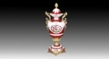 classical royal display porcelain art decoration, Athens ceramic on-glazed double golden ears trophy