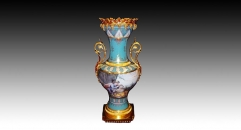 European style luxury ceramic hand made vase, golden base and ears sky blue porcelain table vase