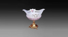 exquisite workmanship gold inlay ceramic compote, flowers decorative golden square base bowl