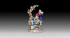 European style colorful glazed porcelain home decoration, kiss of love decoration item